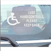 1 x I Use Hand Controls Please Keep Back-Window Sticker-200mm x 87mm-Disabled Logo-Disability Sign
